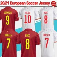 21 22 Nation Team Soccer Jersey # 7 Morata # 8 Koke # 9 Gerard M. الصفحة الرئيسية Red Soccer Shirt # 11 F.Torres # 10 Thiago Away White Men Gars Version Football Offe S-4XL
