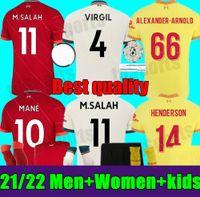 Novos 21 22 22 Mohamed Adulto Homens Mulheres Kit Kids Salah Soccer Jersey Virgil Firmino Home Away 3rd Mane Henderson Goleiro A.Becker Diogo J. 2021 2022 Juventude Futebol Camisa