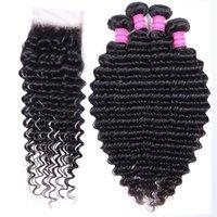 Brazilian Deep Loose Water Wave Wefts 4 Bundles With Lace Closur Extensions Weave Natural Black Color Sofy Remy Hair Bundles swiss lace 4x4 Closure