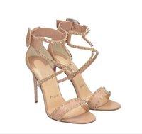 Fábrica Venda Mulheres Red Bottom Sandálias Spikes Studes Studded Nude Anchle Strap Bela elegante Verão Senhoras Fantasias Meninas Latest High Heel Sandal Marca Design