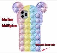 3D Bear Decompression Phone Cases For Iphone 12 Mini 11 Pro Max X XS XR SE2 7 Plus 8 6 6S Relive Stress Relief Fidget Toy Cute Soft Silicone Cover