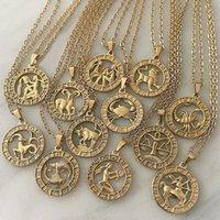 Vintage Gold Douze Constellations Collier Pour Femmes Filles Man Symbole Zodiac Symbole Pendentif Cadeau Clavicule Colliers Colliers Fine Bijoux