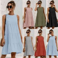 Verão o pescoço sem mangas costura solta grande colete de balanço para mulheres 2021 aline casual praia mulher mini vestidos vestidos
