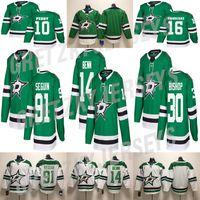 Dallas Stars Jersey 16 Joe Pavelski 14 Jamie Benn 91 Tyler Seguin 30 Ben Bischof grün weiß genäht Hockey-Trikots