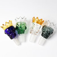 Colorful Skull Style Glass Bowls Pipe 14mm Male Thick Big Bowl Hookahs Piece For Water Bongs
