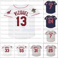 Retro Baseball Jersey 1995 Jerseys 25 Thome 13 Omar Vizquel 7 Kenny Lofton 24 ماني راميريز 8 ألبرت بيل 15 ساندي ألومار 55 هيرشيزر