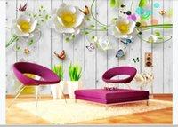 Foto Personalizzato 3D Wallpaper Board in legno Idilliani Sollievo Fiori Murale per soggiorno Soft TV Sfondo Parete Pittura