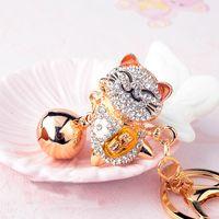 Llavero de cristal lindo para mujer Aleación de mujer Big Bell Rhinestone Japonés Lucky Cat Coche Llavero Chica Bolsa Colgante Joyería Llavero Animal