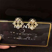 Outlet Xiangjia xiaoxiangfeng and notice light gold stud square diamond shield Earrings