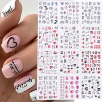 12styles pcs Nail Art Stickers Valentines Love Letter Flower Sliders for Nails Decoration Water Sticker Decal Manicure DIY Fashion Accessories Tips