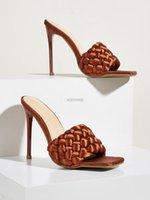 Dress Shoes Design Women Slide Satin Braid Style Open Square Toe Stiletto Heel Handmade Footwear Summer Mules Lady Womens Sandals