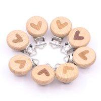 Cartoon Love Wooden Pacifier Chain Natural Beech Baby DIY Dummy Clip Accessories