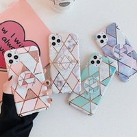 Phone Cases For iPhone XR XS 12 Mini 11 Pro Max X 7 8 6 6S Plus SE Case Cover Stand Holder Plating Marble Silicone Shell
