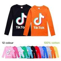 Tiktok TikTok kids children teenagers pullover T shirt hoodies cotton material long sleeve autumn blouses boys girls musical note print sports casual tops G909X9F