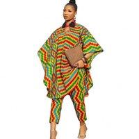 Women's Two Piece Pants Pant Set Suits Women Loose Half Sleeve Long Tops 2021 Autumn Dashiki Print Fashion Streetwear 2 Outfits
