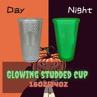 Glow in Dark Studded Cold Cup Tumblers 24oz 710ml Double Wall Matte Plastic Tumbler Coffee Mug With Straw Custom LOGO Accpet WLL1095