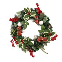 Decorative Flowers & Wreaths LED Light 50cm Christmas Wreath Ornament Premium Beautiful Artificial Garland Door Party Hanging Agreeable