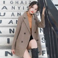 winter han edition small suit star fashion long-sleeved grid cloth with lace-up coat frock 210510