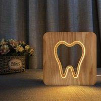 سلاسل الأسنان شكل الخشب الجدول مصباح الإبداعية هدية المنزل usb ضوء الليل أدى أضواء الديكور عطلة ديكورات ل