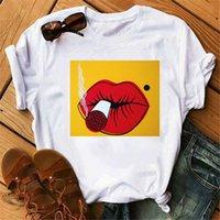 T-shirt das mulheres Kpop Styles Coréens camisetas Kawaii Beau Rouge À lèvres Graphique Femmes Vêtements Maquillage AR