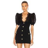 Elbise swtao 2021 kadın dantel abiye, gevşek kollu, çizgili, siyah, zarif, sıkı, tasarımcı dnag