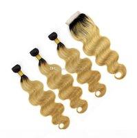 T 1B 27 Root sombre miel Blonde Body Wave Ombre Cheveux Humains Tissu 3 Bundles avec fermeture en dentelle Extensions de cheveux vierges brésiliennes THEFT