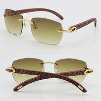 Venda por atacado vendendo T8100905 alta qualidade moda óculos de sol de madeira esculpida de madeira sem aro 18k óculos de ouro uv400 lente masculino e feminino molduras quadro tamanho: 57-18-135mm
