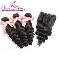 Превосходные бразильские перуанские наращивания волос Свободная волна 1 шт. 3 пути Часть верхнего закрытия с 3 связки Человеческие волосы девственницы Weaves натуральный цвет
