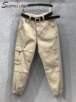 Frauenhose Capris Surmiitro Baumwolle Lange Frachtfrauen 2021 Mode Herbst Koreaner Stil Khaki Taschen Hohe Taille Knöchel Harem Weibliche