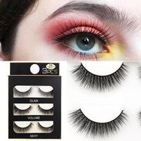 False Eyelashes 3 Pairs Of 3D Mink Natural Cross Fake Lashes Lash Extension Beauty Wispy Makeup Set Eyelashe Box Package