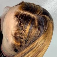 Ombre resaltar peluca marrón miel rubia color hd integral encaje frente pelucas humanos pelo hetero 360 encaje completo