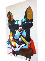 Rolig hund oljemålning på duk Heminredning Handmålad HD-utskrift Väggkonst Bildanpassning är acceptabel 21070103