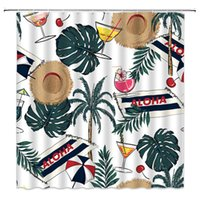 Tropical Holiday Shower Curtain Decor Palm Tree Banana Leaf Juice Drink Straw Hat Umbrella Summer Vacation Green Fabric Bath