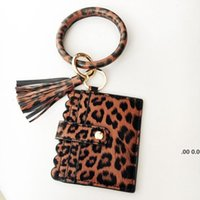 31 styles Bracelet Keychain Card Bag with Tassels Leopard Sunflower PU Leather Bangle Wrist Bag Pandent Key Decorate Fashion FWA9471