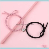 Charm Jewelry2Pcs Set Couple Magnetic Distance Bracelet Adjustable Lucky Red Rope Braided Heart Charms Bracelets Lovers Jewelry Gifts Drop D