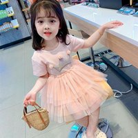 Girl's Dresses Malayu Baby Toddler Cute Girls Summer Cotton Mesh Splicing Pattern Decoration Princess Costume 1-6Years Kids Clothes
