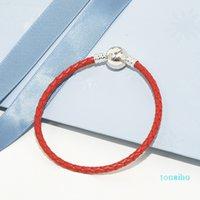 set Charm Bracelet scatola originale in pelle rossa intrecciata per Pandora 925 gioielli dal design di lusso delle donne Bracciali Mens