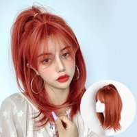 European and American red wig women's long hair is handsome and fluffy, shoulder length hair, full head cover, straight hair, women&#03