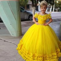 Girl's Dresses Custom Flower Girl Dress Sheer Neck Floral Tulle Beading Lace Up Back Princess Birthday Prom Pageant Gown