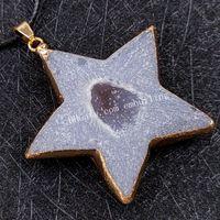 Cura Reki Gemstone Ágata Druzy Pingente Colar de Ouro Banhado Estrela Irregular Star Moon Heart em forma de Quartzo Geode Drusy Stone Drusy Charme afortunado na corrente de corda de couro