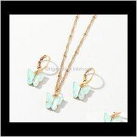& Sets Drop Delivery 2021 Butterfly Pendant Necklaces And Earrings Set For Women Girls Pink Gold Necklace Elegant Choker Fashion Sweet Jewelr