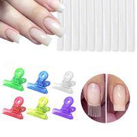 Nail Art Kits 5Pcs set Fiber Extension Shaping C-curve Plastic Clip Fixing Tool Steel Acrylic Pincher Glass For Nails Kit