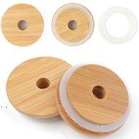 70mm / 86mm amigável pálpebras de mason reutilizáveis tampas de bambu com buraco de palha e selo de silicone para maçons canning beber frascos top owd8939