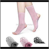 Sports Nonslip Sile Bottom Toeless Yoga Open Toes Half Finger Antislip Sport Socks For Gym Fitness Training Exercise Te6Bl Dz1Dz