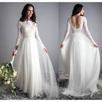 Bohemian Long Sleeve Wedding Dresses 2021 Full Lace Tulle Backless Jewel Country Summer Beach Bride Dress Robe de mariée