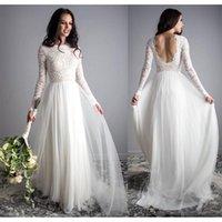 Bohemian Long Sleeve Wedding Dresses 2021 Full Lace Tulle Backless Jewel Country Summer Beach Bride Dress Robe de mariée
