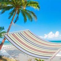 Waco 2 persona cama doble hamaca, decoraciones de jardín Barra de esparcidor de madera Patio Patio Piscina Playa Playa Hamacas con almohada (Beige)