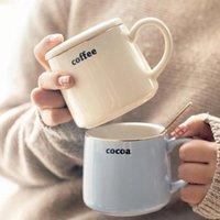Mugs 310ml Cute Brief Gold Coffee Milk Tea Cup Breakfast Ceramic Elegant Ins Water Yellow Blue Gray Pink