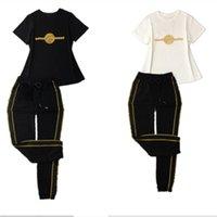 20SS top designers verão femininas femininas duas peças conjunto clássico bordado em torno do pescoço manga curta 100% ternos de algodão fashion calças jogging setswear