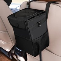 Car Trash Can With Lid Waterproof Bag Hanging Storage Pockets 6L Portable Garbage Bin Organizer Other Interior Accessories